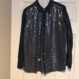 Denim blouse with sparkles on front